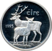 Ireland ECU Red Deer 1993 Proof ÉIRE 1993 coin obverse