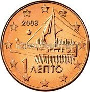 Greece Euro Cent 2008 KM# 181 Euro Coinage coin obverse