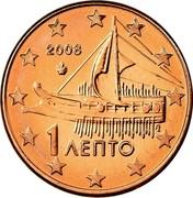 Greece Euro Cent 2008 KM# 181 Euro Coinage 1 ΛΕΠΤΟ 2008 coin obverse