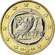 Greece Euro Owl 2008 KM# 214 1 ΕΥΡΩ coin obverse