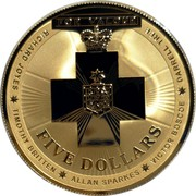 Australia Five Dollars Australian Bravery Medal 2015 UNC FOR VALOUR RICHARD JOYES TIMOTHY BRITTEN ALLAN SPARKES VICTOR BOSCOE DARRELL TREE FIVE DOLLARS coin reverse