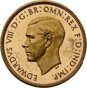 UK Half Penny Edward VIII Pattern 1937 KM# Pn123 EDWARDVS VIII D : G : BR : OMN : REX F : D : IND : IMP . HP coin obverse