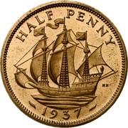 UK Half Penny Edward VIII Pattern 1937 KM# Pn123 HALF PENNY HP - 1937 - coin reverse