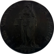 Ireland Halfpenny Wicklow Cronebane - Standing Justice 1794  FOR CHANGE NOT FRAUD 1794 coin reverse