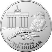 Australia One Dollar Berlin Show Brandenburg Gate - World Money Fair 2020 1 OZ .999 AG ONE DOLLAR coin reverse