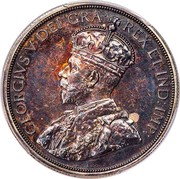 Canada One Dollar George V Specimen Pattern 1911 KM# Pn15 GEORGE V, BY THE GRACE OF GOD KING AND EMPEROR OF INDIA coin obverse