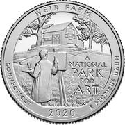USA Quarter Dollar Weir Farm National Historic Site - Connecticut 2020 S Proof WEIR FARM A NATIONAL PARK FOR ART CONNECTICUT 2020 E PLURIBUS UNUM coin reverse