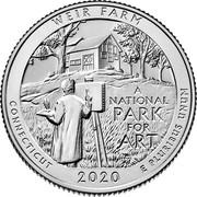 USA Quarter Dollar (Weir Farm National Historic Site - Connecticut) WEIR FARM A NATIONAL PARK FOR ART CONNECTICUT 2020 E PLURIBUS UNUM coin reverse