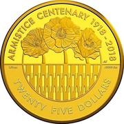 Australia Twenty Five Dollars Armistice Centenary 2018 ARMISTICE CENTENARY 1918 - 2018 TWENTY FIVE DOLLARS 1/4OZ .9999 AU coin reverse