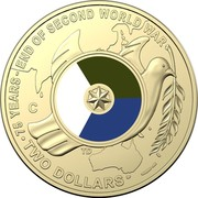 Australia Two Dollars (75 years - End of second World War) 75 YEARS - END OF SECOND WORLS WAR TWO DOLLARS coin reverse