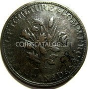 Canada 1/2 Penny (Bouquet Sous) AGRICULTURE & COMMERCE BAS - CANADA coin obverse