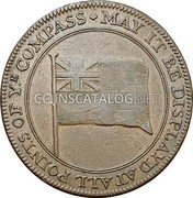 UK 1/2 Penny (Naval battle at Cape St. Vincent) MAY IT BE DISPLAYD AT ALL POINTS OF YE COMPASS coin obverse