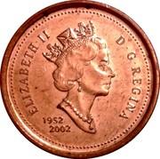 Canada 1 Cent (Elizabeth II) KM# 445a ELIZABETH II D G REGINA 1952 2002 coin obverse