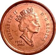 Canada 1 Cent Succession of Queen Elizabeth II 1952-2002 KM# 445 ELIZABETH II D G REGINA 1952 2002 coin obverse