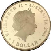 Australia 1 Dollar 150 Years of Australian Football 2008 ELIZABETH II AUSTRALIA 2008 1 DOLLAR coin obverse