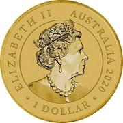 Australia 1 Dollar 75 Years Since the End of WWII 2020 P UNC in PNC ELIZABETH II AUSTRALIA 2020 1 DOLLAR JC coin obverse