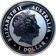 Australia 1 Dollar Australian Kookaburra 20th Anniversary 2009 UNC KM# 1291 ELIZABETH II AUSTRALIA IRB 1 DOLLAR coin obverse