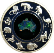 Australia 1 Dollar Great Southern Land - Opal 2020 P Proof 2020 1 OZ 9999 SILVER coin reverse