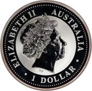 Australia 1 Dollar Kookaburra. Privy Mark February 2000 KM# 416.5 ELIZABETH II AUSTRALIA 1 DOLLAR coin obverse