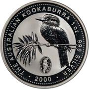 Australia 1 Dollar Kookaburra. Privy Mark February 2000 KM# 416.5 THE AUSTRALIAN KOOKABURRA 1 OZ 999 SILVER 2000 coin reverse
