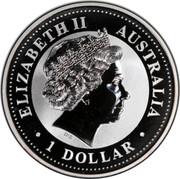 Australia 1 Dollar Kookaburra. Privy Mark May 2000 KM# 416.8 ELIZABETH II AUSTRALIA 1 DOLLAR IRB coin obverse