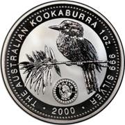 Australia 1 Dollar Kookaburra. Privy Mark May 2000 KM# 416.8 THE AUSTRALIAN KOOKABURRA 1 OZ 999 SILVER 2000 coin reverse