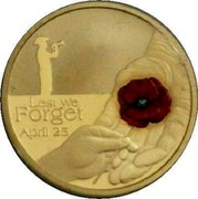 Australia 1 Dollar Lest We Forget - Red Poppy 2018 LEST WE FORGET APRIL 23 coin reverse