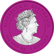 Australia 1 Dollar Space Pink Kookaburra 30th Anniversary 2020 ELIZABETH II AUSTRALIA 1 OZ 9999 AG 1 DOLLAR coin obverse