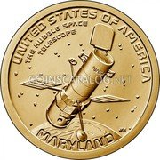 USA 1 Dollar (The Hubble Space - Telescope) UNITED STATES OF AMERICA THE HUBBLE SPACE TELESCOPE NASA JFM MARYLAND coin reverse