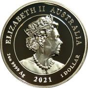 Australia 1 Dollar Winged Victory 2021 P Proof High Relief ELIZABETH II AUSTRALIA JC 1 OZ 9999 AG 2021 1 DOLLAR coin obverse