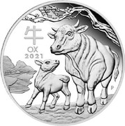 Australia 1 Dollar (Year of the Ox) 牛 OX 2021 P coin reverse