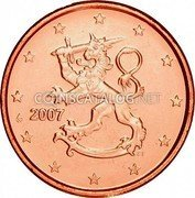Finland 1 Euro Cent (The Heraldic Lion of the Coat of Arms of Finland) KM# 98 2007 FI coin obverse