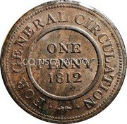 UK 1 Penny (Birmingham and Warwickshire) ONE PENNY 1812 FOR GENERAL CIRCULATION coin reverse