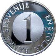 Slovenia 1 Tolar 10 years of Slovenian tolar 2006 Proof BANKA SLOVENIJE EN TOLAR 1 2006 coin obverse