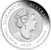 Australia 10 Cents 75th Anniversary of the end of WWII 2020 P UNC in Coincard ELIZABETH II AUSTRALIA 1/10 OZ 9999 AG 2020 10 CENTS coin obverse