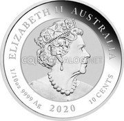 Australia 10 Cents (75th Anniversary of the end of WWII) ELIZABETH II AUSTRALIA 1/10 OZ 9999 AG 2020 10 CENTS coin obverse