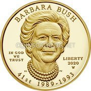 USA 10 Dollars (Barbara Bush) BARBARA BUSH IN GOD WE TRUST LIBERTY 2020 W 41 ST 1989 - 1993 coin obverse
