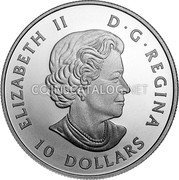 Canada 10 Dollars (O Canada! - Maple Leaves) ELIZABETH II D G REGINA 10 DOLLARS coin obverse