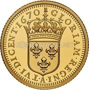 Canada 10 Dollars (Relics of New France: Louis XIV 15 Sol) GLORIAM REGNI ATVI DICENT 1670 coin reverse
