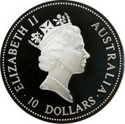 Australia 10 Dollars The Australian Kookaburra 1997 Proof KM# 351a 10 DOLLARS AUSTRALIA ELIZABETH II coin obverse