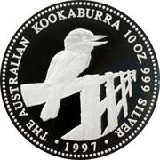 Australia 10 Dollars The Australian Kookaburra 1997 Proof KM# 351a 10 OZ 999 SILVER THE AUSTRALIAN KOOKABURRA coin reverse