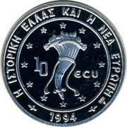 Greece 10 ECU Dolphins 1994 Proof H IΣΤOPIKH EΛΛAΣ KAI H NEA EYPΩΠH 1994 10 ECU coin obverse