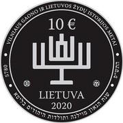 Lithuania 10 Euro 300th birth anniversary of the Vilna Gaon 2020 10€ LIETUVA 2020 5780 VILNIAUS GAONO IR LIETUVOS ŽYDŲ ISTORIJOS METAI coin obverse