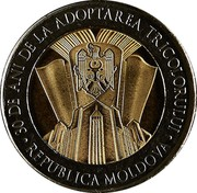 Moldova 10 Lei 30 years since the adoption of the State flag 2020  30 DE ANI DE LA ADOPTAREA TRICOLORULUI REPUBLICA MOLDOVA coin obverse