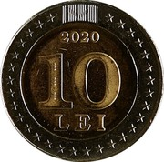 Moldova 10 Lei 30 years since the adoption of the State flag 2020  2020 10 LEI coin reverse