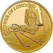 UK 10 Pounds (Ceremony of the Keys) TOWER OF LONDON A1 2 GD coin reverse