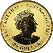 Australia 100 Dollars Great White Shark 2021 UNC ELIZABETH II AUSTRALIA 2021 100 DOLLARS JC coin obverse