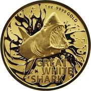 Australia 100 Dollars Great White Shark 2021 UNC 1 OZ 9999 GOLD GREAT WHITE SHARK coin reverse