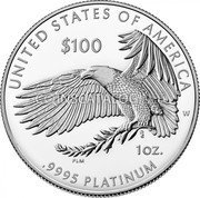 USA 100 Dollars (Happiness) UNITED STATES OF AMERICA $100 1 OZ 9995 PLATINUM coin reverse