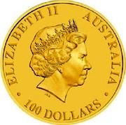 Australia 100 Dollars World Youth Day 2008 P Proof ELIZABETH II AUSTRALIA 100 DOLLARS coin obverse